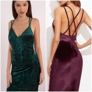 Dresses & Skirts - Green Crisscross Back Velvet Dress